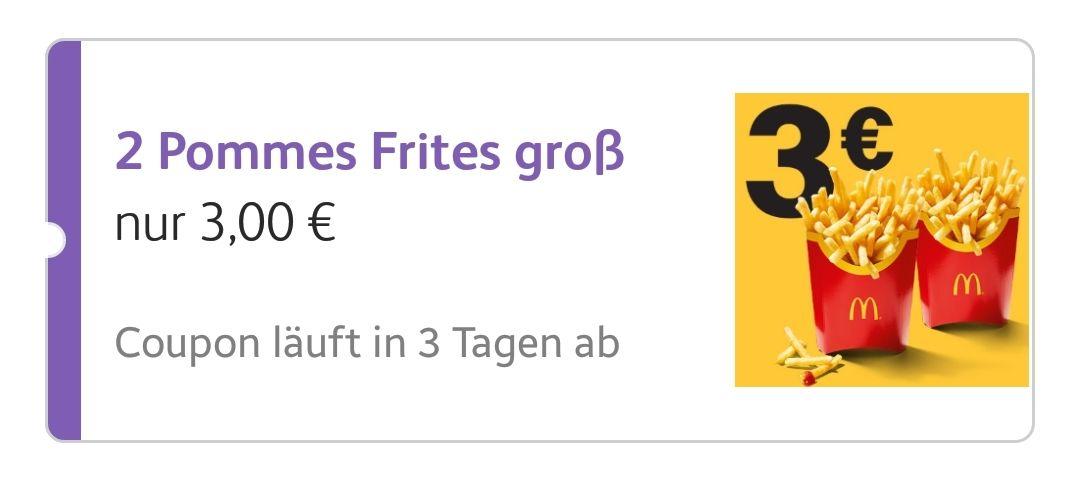2 große Pommes für 3 € (App-Coupon)