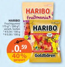 Haribo (verschiedene Sorten) bei Müller für 0,59 €