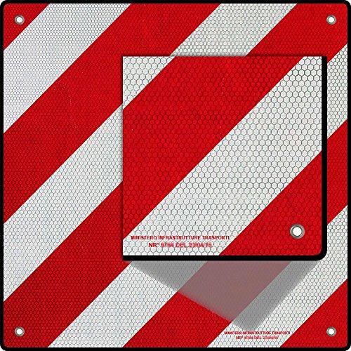 Wiltec 2-in-1 Warntafel für Spanien und Italien (50x50cm, zur Kennzeichnung überhängender Ladung an Wohnmobil, Boot, Fahrradträger usw.)