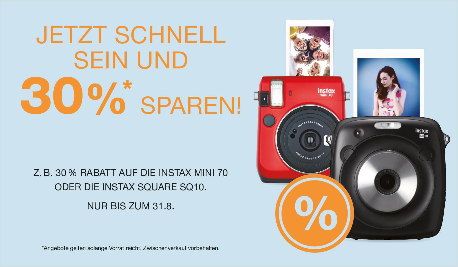 30% auf instax Sofortbildkameras und Shacolla Panels