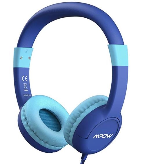 Kinderkopfhörer von Mpow in blau mit max 85dB Lautstärke mit Prime-Versand