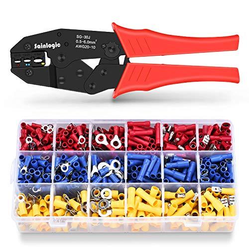 Sainlogic Crimpzangen Kabelschuh Set (Zange + 700 Teile)