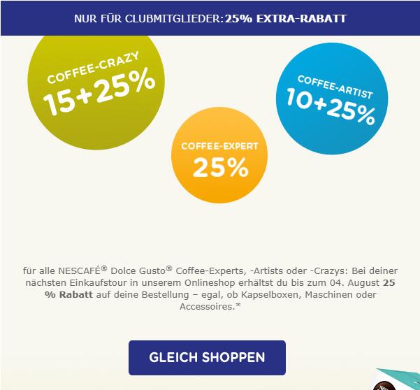 Dolce Gusto - 25% Extra Rabatt im Online Shop bis 04.08.2019 (für Clubmitglieder)