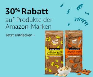30% auf Amazon-Marken (nur PRIME, z.B. Solino Schweizer Milchschokolade mit Keksstückchen)