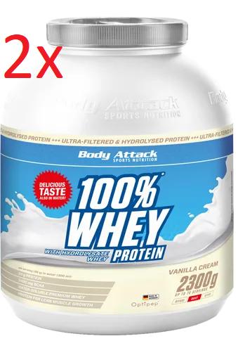 2 x 2,3 kg Body Attack  100% Whey Protein (11,73 €/kg)