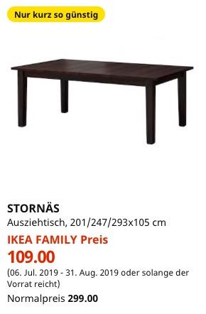 [Lokal] IKEA Family Wuppertal - STORNÄS Ausziehtisch, braunschwarz, 201/247/293x105 cm