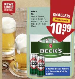 Rewe (deutschlandweit) - Kiste Becks (24x 0.33l) für 10,99 € (zzgl. 3,42 € Pfand) kaufen und 2 Dosen (0,5l) geschenkt
