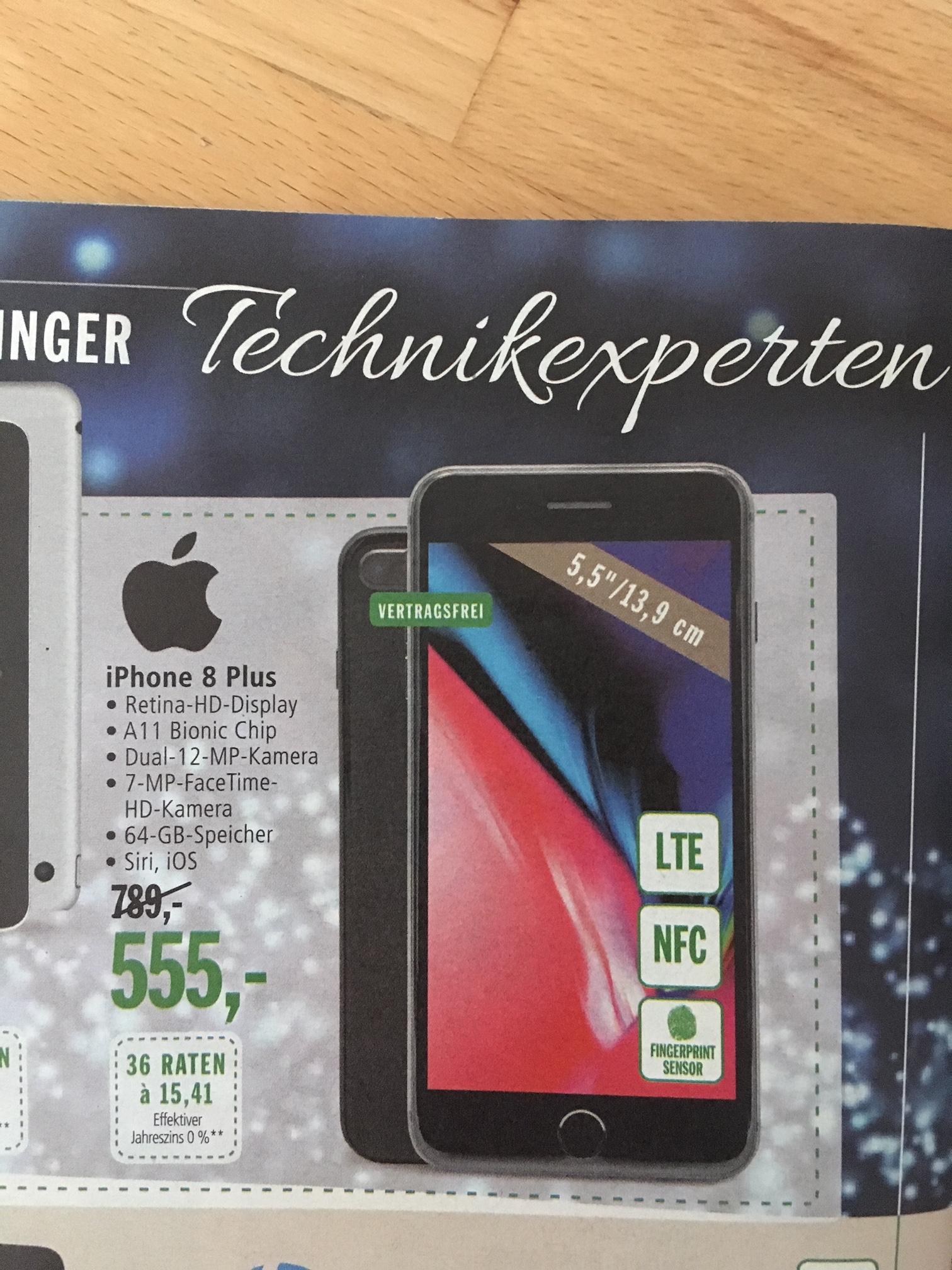 Apple iPhone 8 Plus 64GB (nur regional in Balingen/Ba-Wü verfügbar, Neueröffnung Markthalle/real Markt)