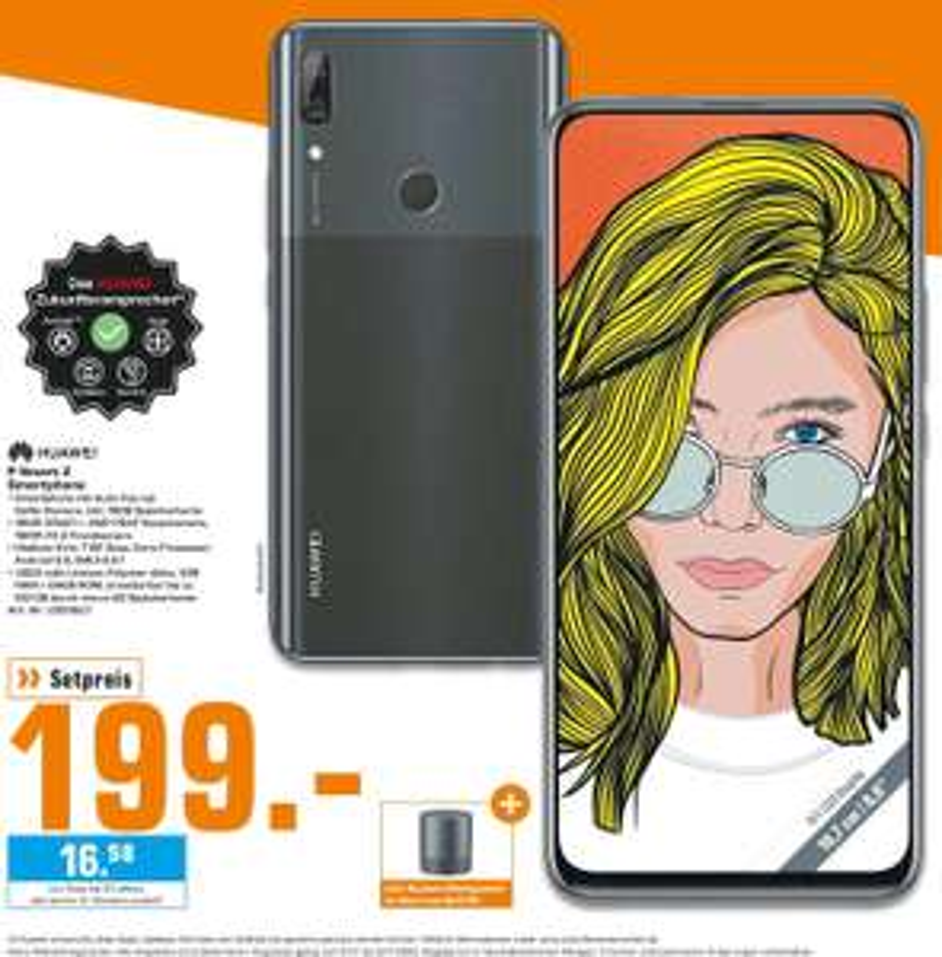 "[Lokal: Saturn Berlin & Umgebung] Huawei P Smart Z  6.59"" Dual-SIM Smartphone (Android 9, USB-C, NFC, 4GB RAM, 64GB, 4000mAh) + Mini-Speaker"