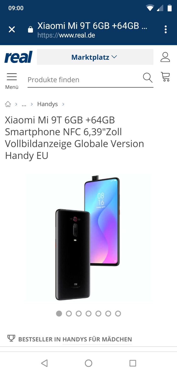 "Xiaomi Mi 9T 6GB +64GB Smartphone NFC 6,39""Zoll Vollbildanzeige Globale Version Handy EU"