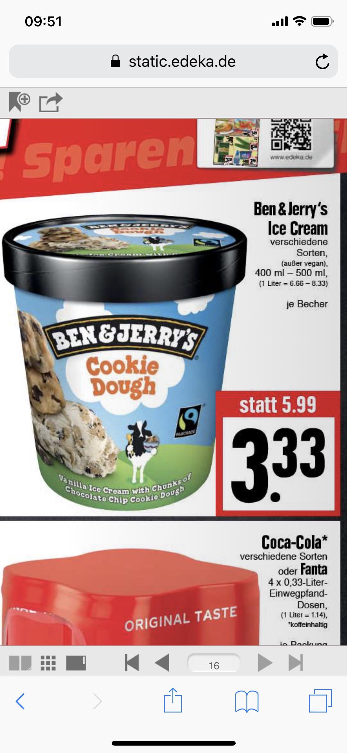 LOKAL Ben & Jerry's Ice Cream - Verschiedene Sorten 400-500ml @ EDEKA