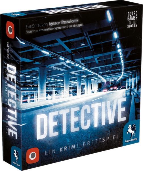 Detective (Brettspiel, 1 bis 5 Spieler, ab 16 Jahren, ~2 bis 3 Stunden Spieldauer, nominiert zum Kennerspiel des Jahres 2019)