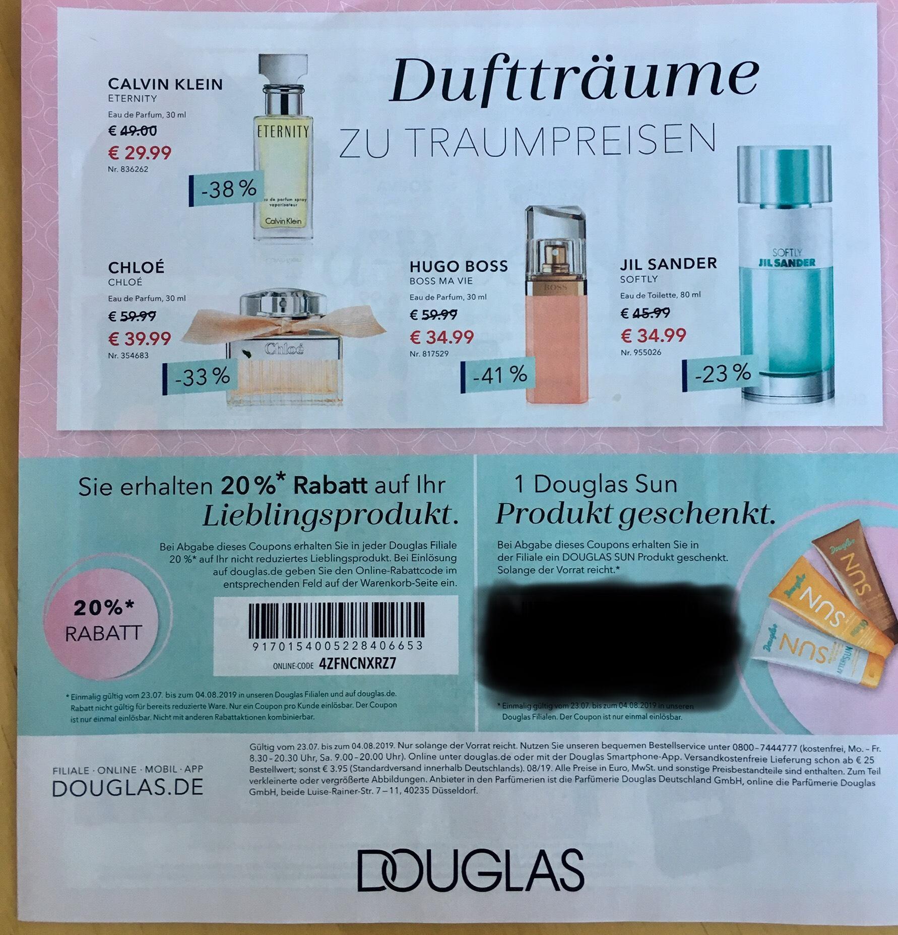 [Douglas.de] 20% Rabatt auf nicht reduziertes Produkt
