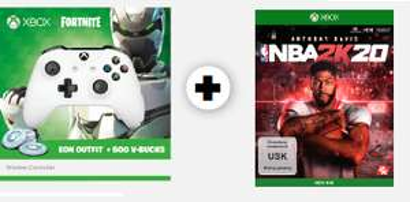 Xbox Wireless Fortnite Controller (Eon Outfit + 500 V-Bucks) + NBA 2K20 (Xbox One) für 69€ bzw. 64€ via App