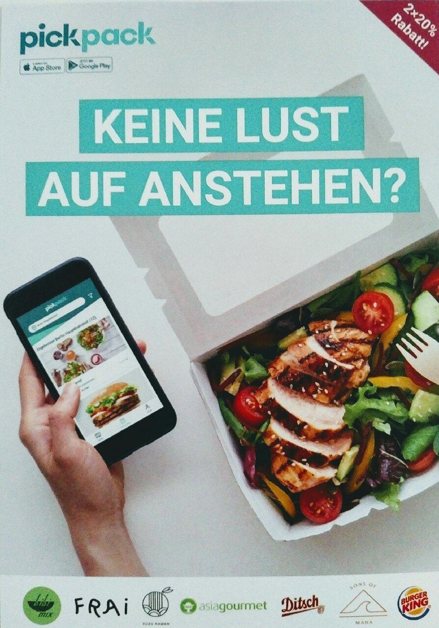 [Lokal Berlin] pickpack Neukundenrabatt mit App 2x 20% sparen