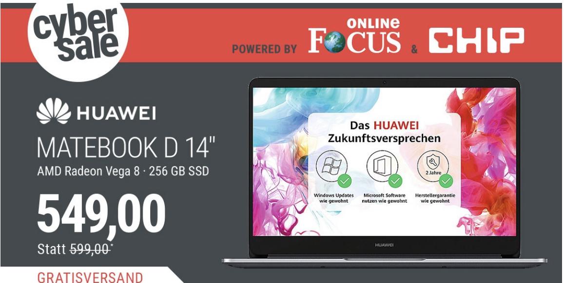Matebook D AMD Cyber Sale von Cyberport ( für weitere 12 Stunden verlängert)