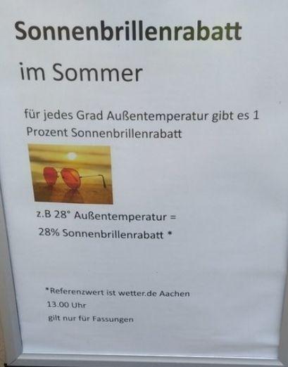 [Lokal Aachen] Optiker Marschall Rabatt auf SonnenbrillenFASSUNGEN pro °C