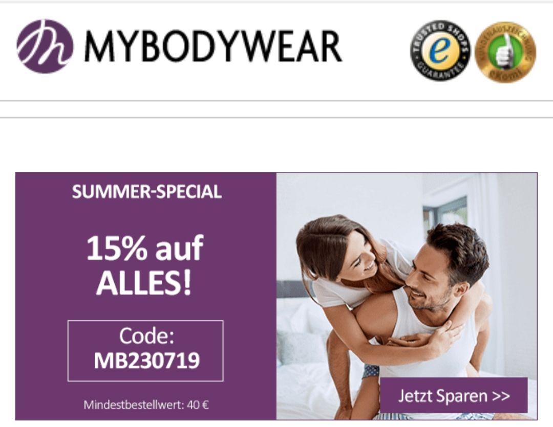 15% auf alles (auch Sale) bei Mybodywear (MBW 40€)