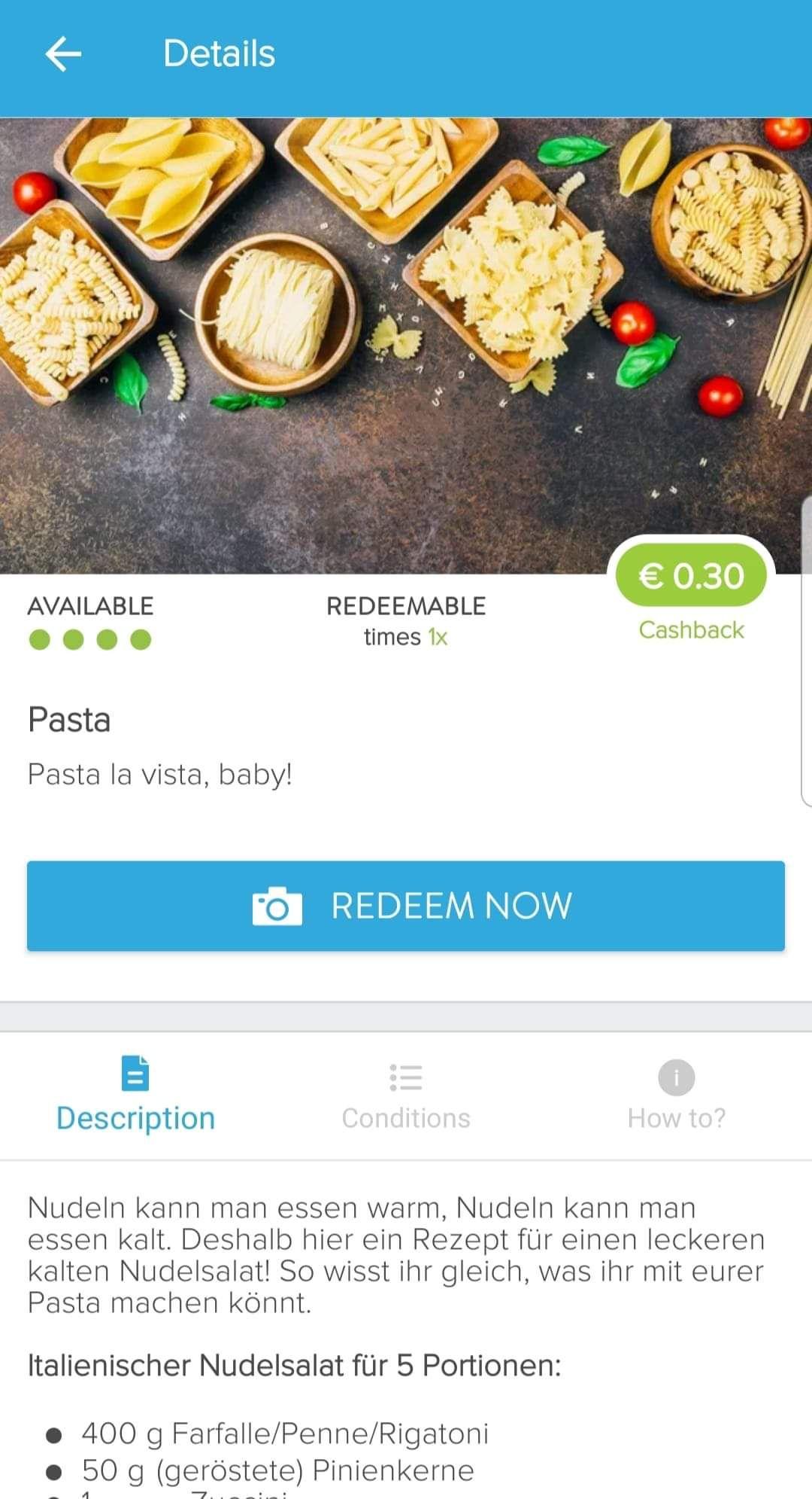 [Marktguru] 0,30€ Cashback  auf Pasta z.B. JA! Nudeln 500g für 0,09€