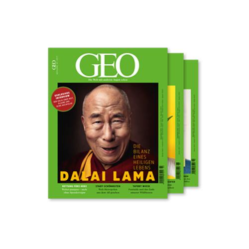 GEO (3 Ausgaben) mit 3-teiligem Reisetaschen-Set (Trolley, Umhängetasche, Rucksack) für 16,50 €