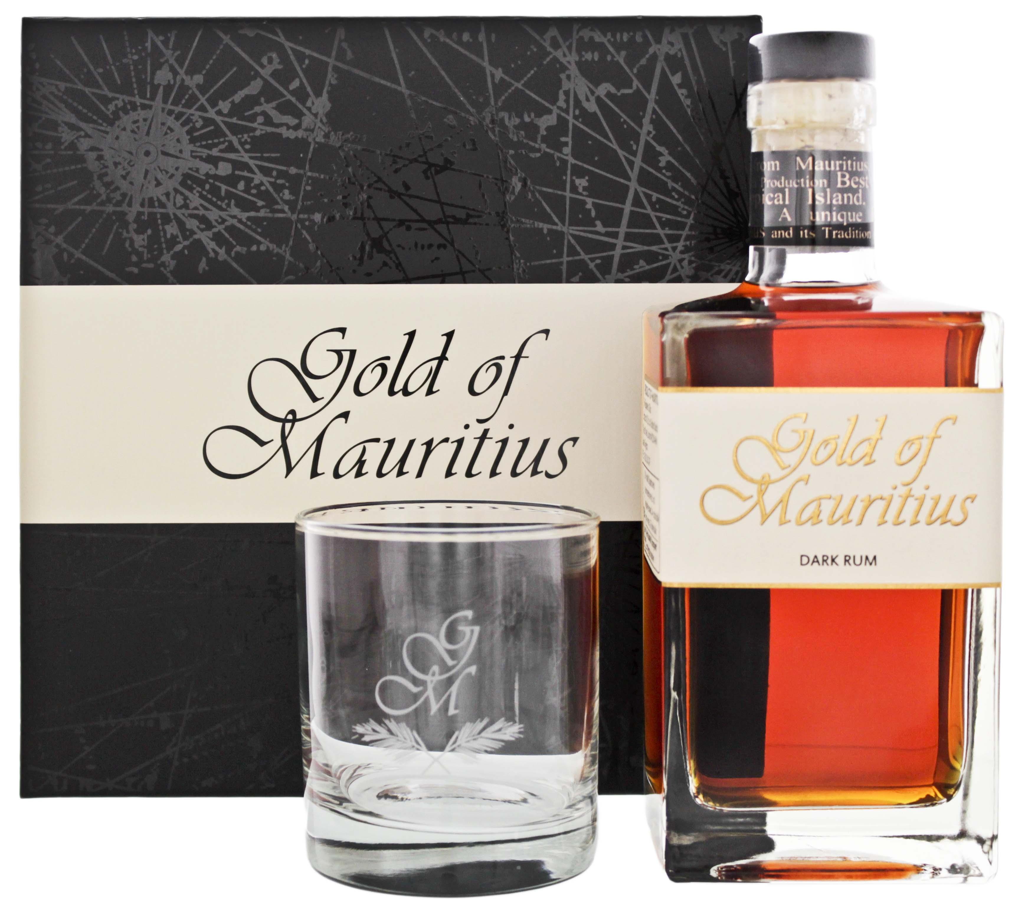 Gold of Mauritius Rum 0,7L 40% Geschenkset mit Glas - (Preise inkl. VSK)
