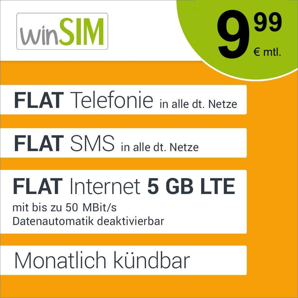 5GB LTE winSIM Tarif für 9,99€ / Monat (monatlich kündbar / 24-Monatsvertrag, o2-Netz)