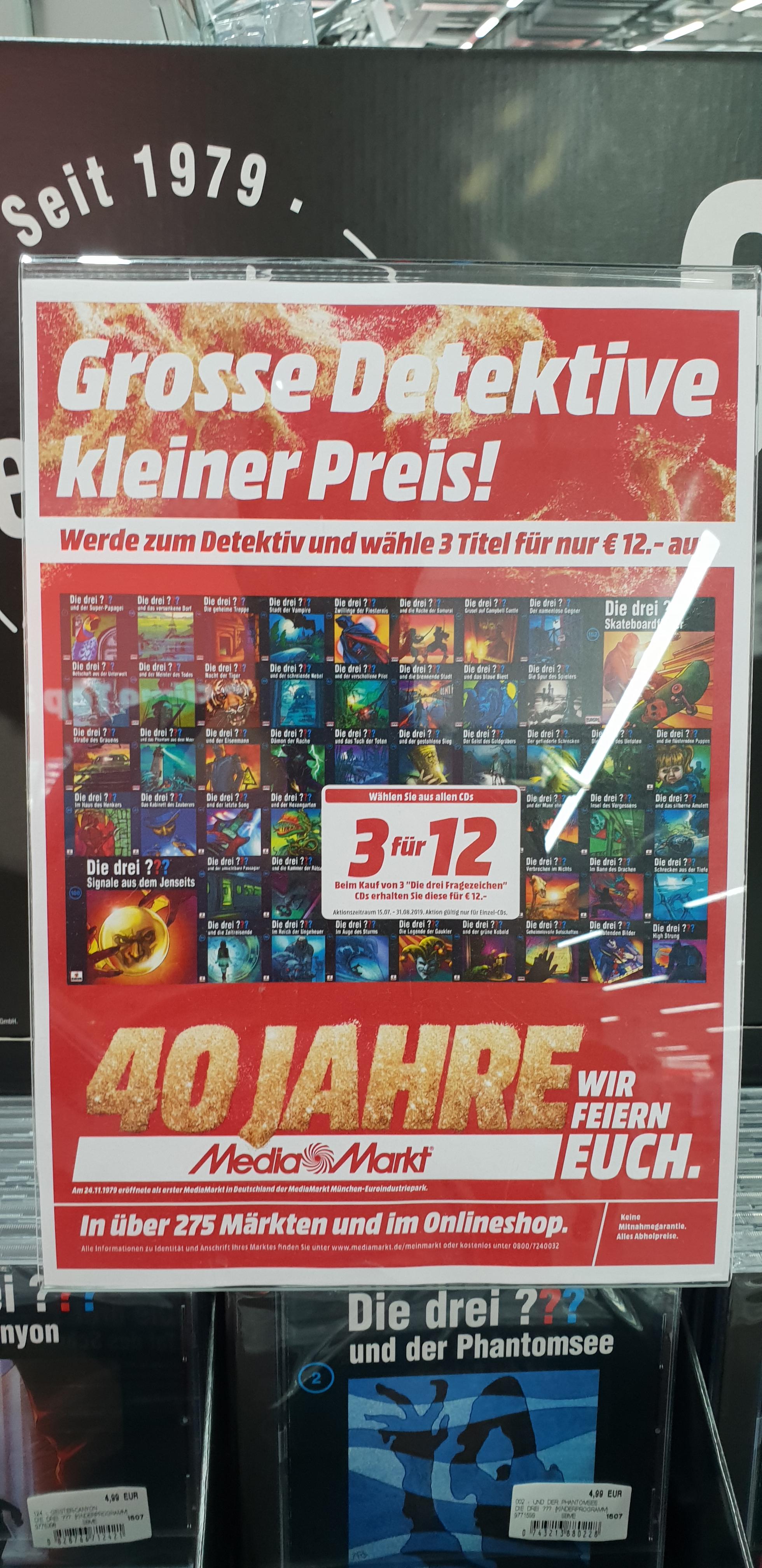 [Media Markt - Kant Center - Charlottenburg - Berlin] 3 für 12 €: Die drei Fragezeichen