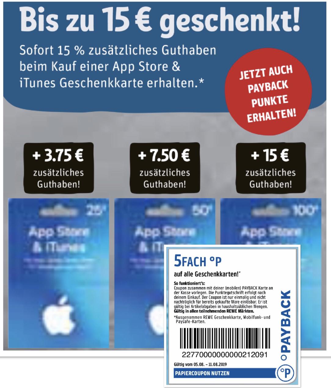 REWE: 15% zusätzliches Guthaben geschenkt für App Store & iTunes Geschenkkarten + 5-fach Payback Punkte! - 25€, 50€ o. 100€ möglich