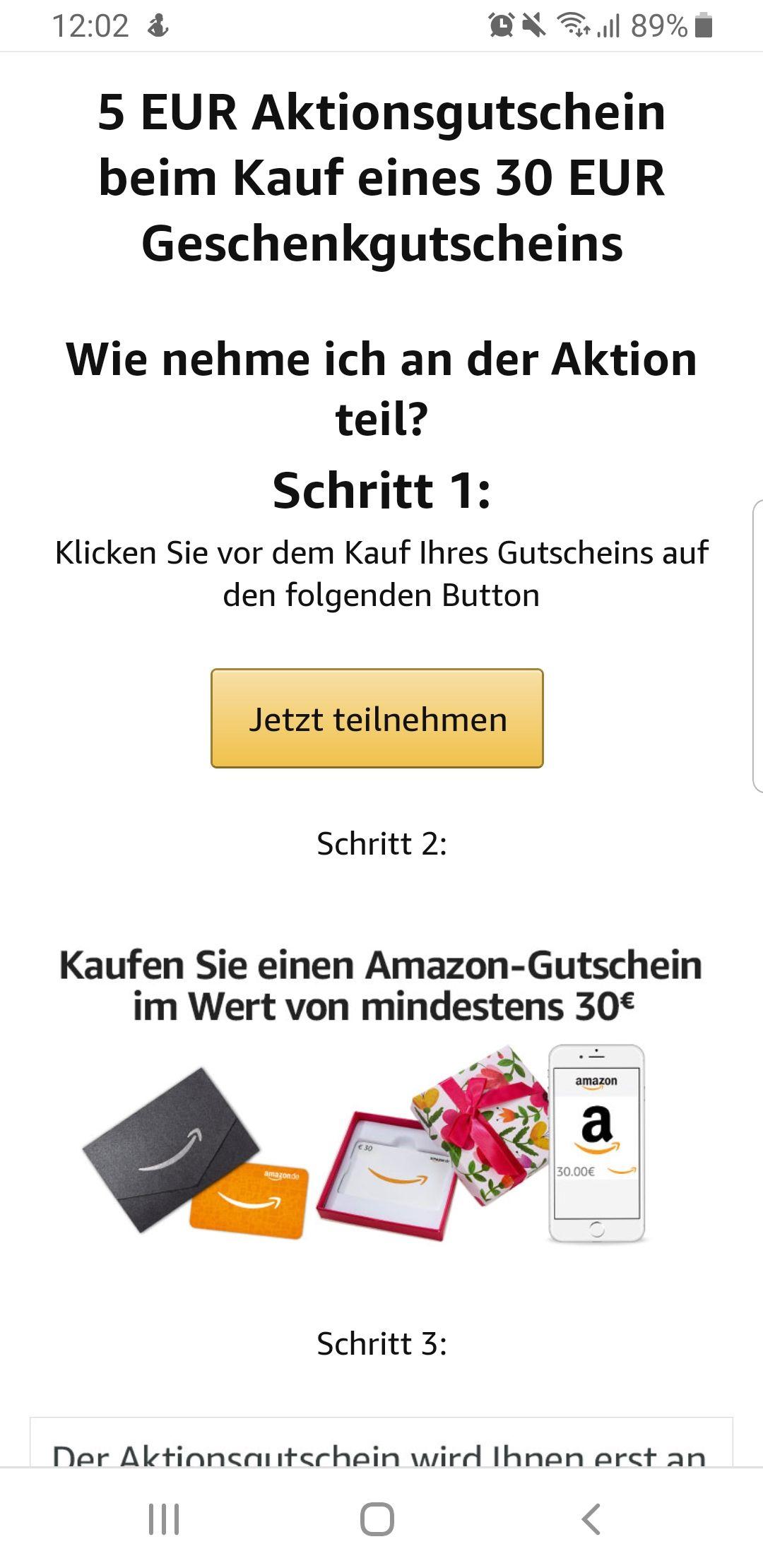 5€ Amazon Gutschein beim Kauf eines mind. 30€ Gutscheins
