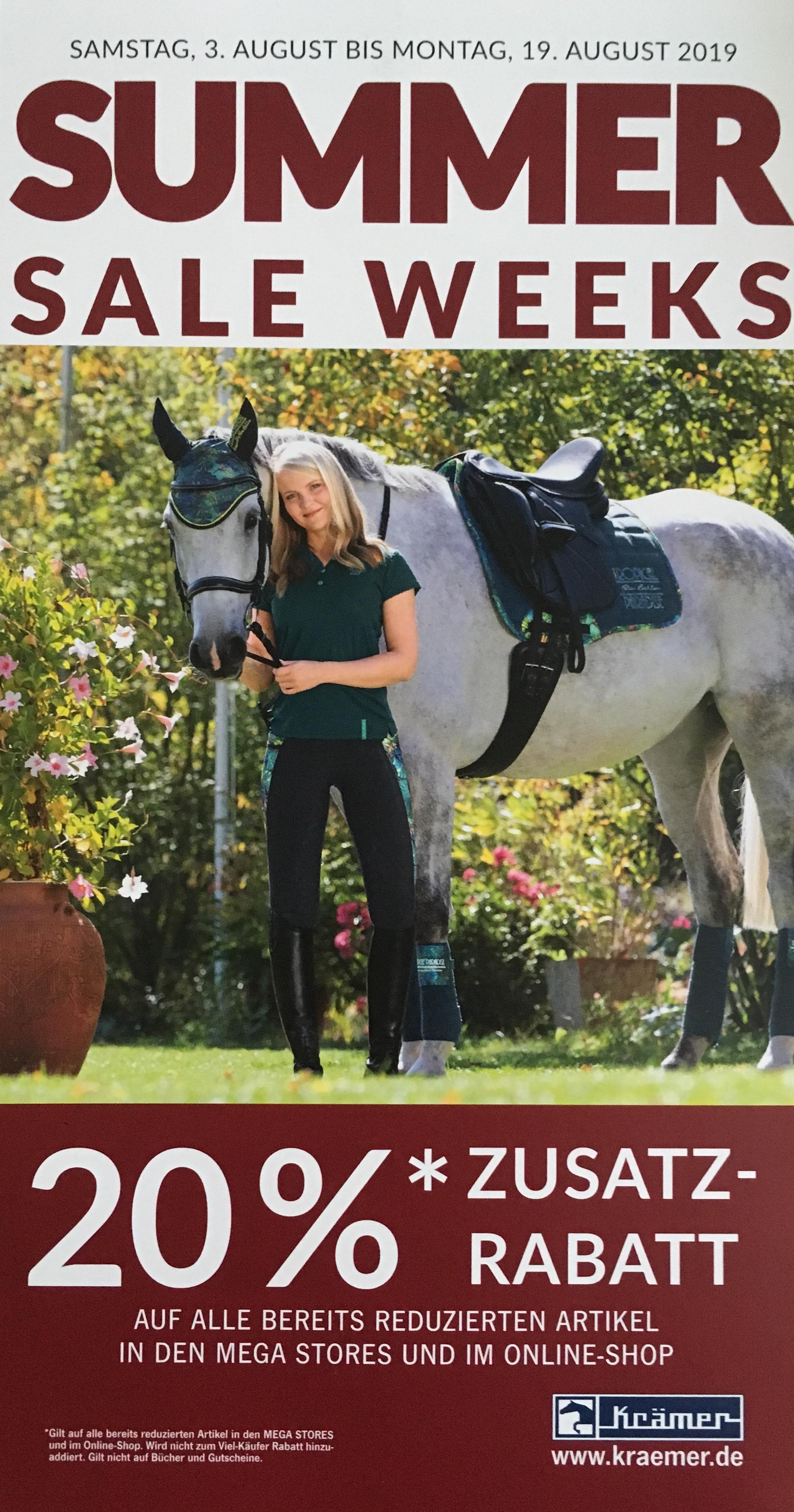 Krämer Pferdesport 20% auf alle bereites reduzierte Artikel vom 03.08 - 19.08 / Online-Shop und im Mega Store