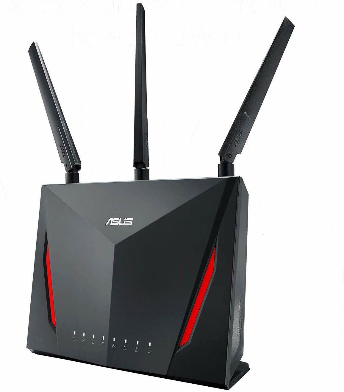 Asus RT-AC86U Router (Mesh WLAN System, WiFi 5 AC2900, 4x Gigabit LAN, 1.8 GHz Dual-Core CPU, App Steuerung)