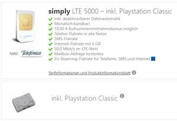 PlayStation Classic gratis zum Tarif simply LTE 5000 (6 GB / MONATLICH KÜNDBAR / o2-Netz) 12,99 € mtl. + 30 € Sofortbonus