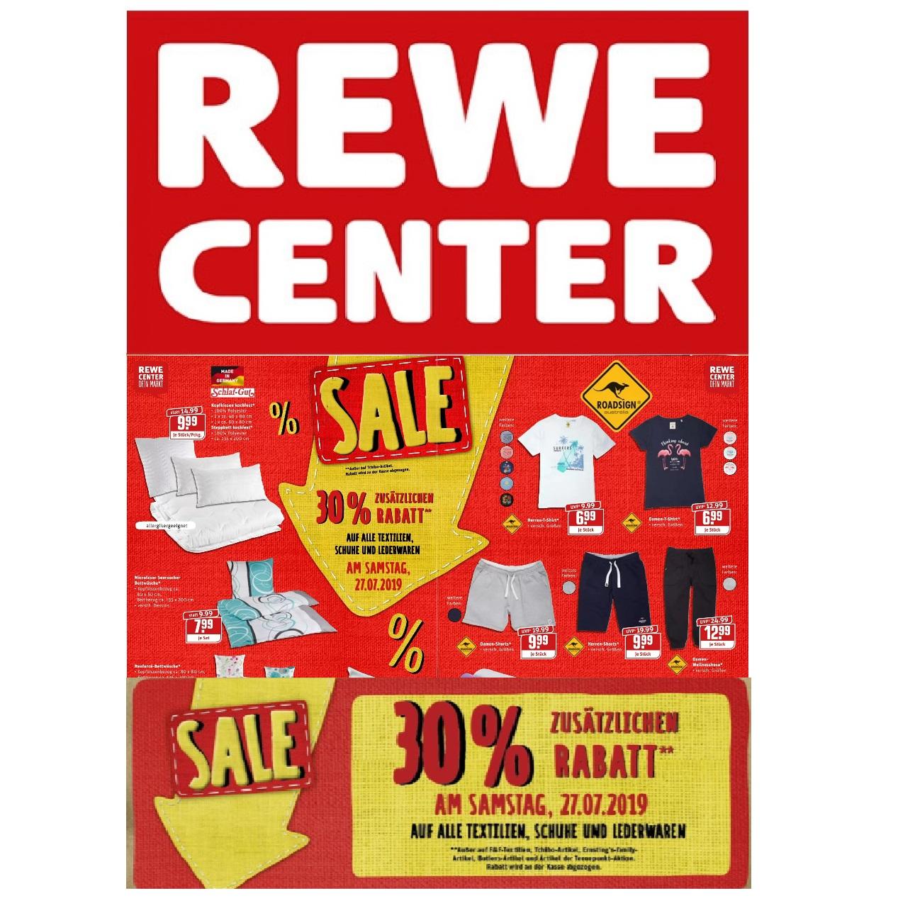 (offline) Rewe-Center: Samstag 30% Rabatt auf Textilien + 15-fach Paybackpunkte möglich!