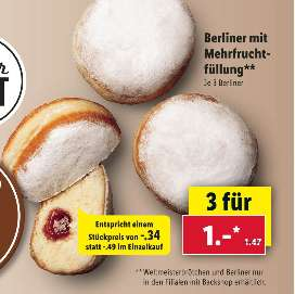 [LIDL ab 05.08] 3 x Berliner-Krapfen-Kräppel-Berliner Ballen-Pannkuchen-Kreple-Puffel für 1,-€ (0,34€ pro Stück)