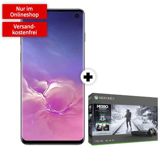Samsung S10 (schwarz), z.B. mit Xbox One X 1TB Metro für 1€ Zuzahlung im MD Vodafone Green LTE (10GB) / Telekom (8GB) für mtl. 36,99€