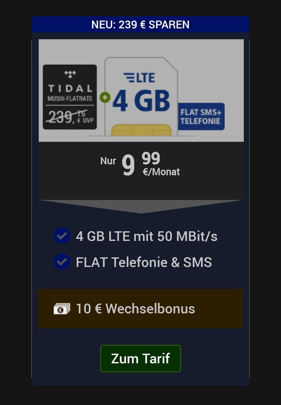 GMX 4 Gb 9,99€ Allnetflat LTE 50mbits/S 02-Netz + 24 Monate Tidal Gratis (Wert: 239,76€)