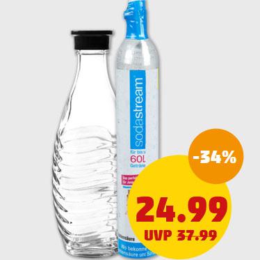 SodaStream Wassersprudler Reservepack mit CO2-Zylinder und 0,6 L Glaskaraffe für nur 24,99€  bei (Penny)
