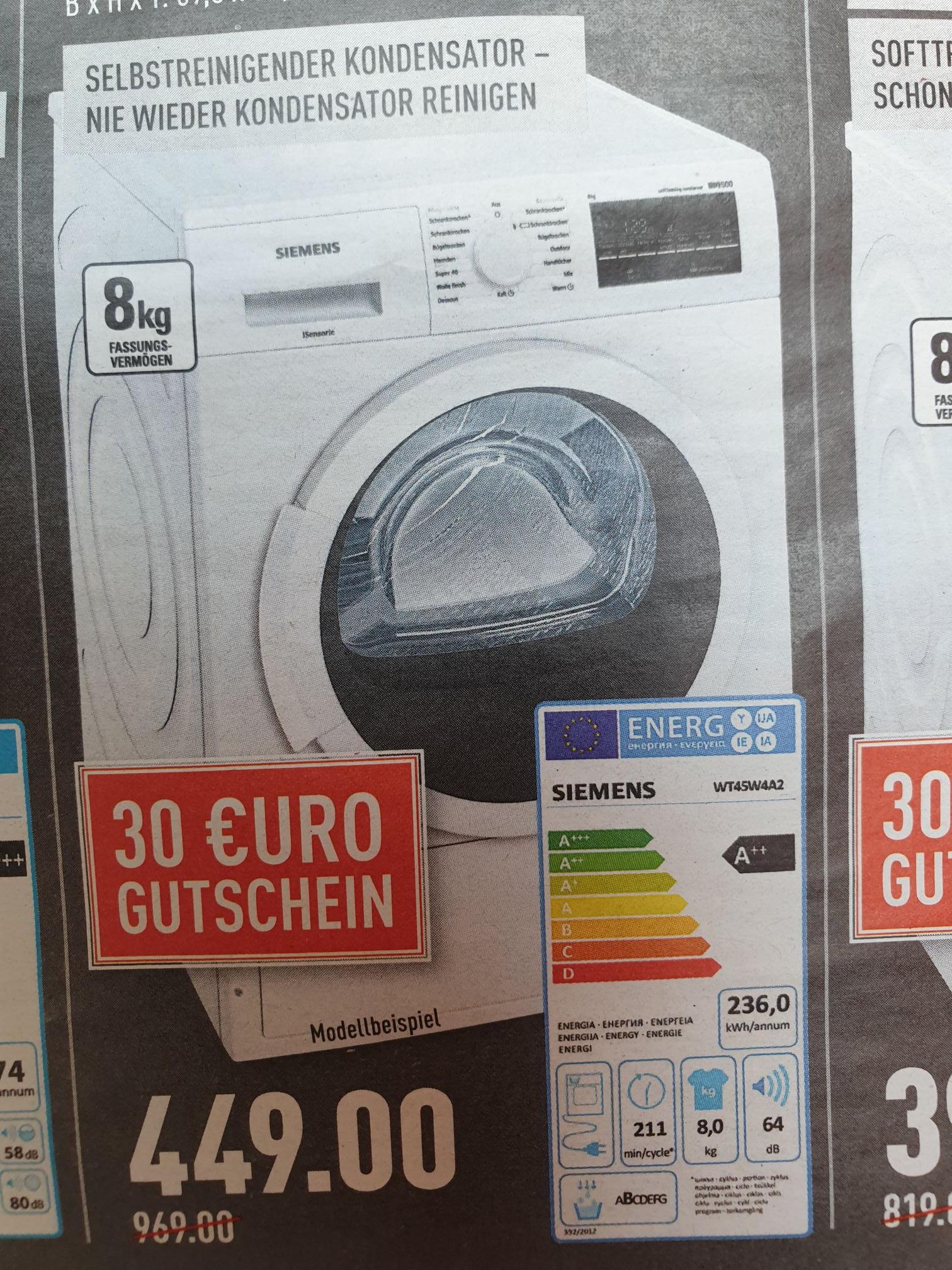 (Marktkauf Rhein-Ruhr) Siemens Wärmepumpentrockner 8kg  WT45W4A2 für 449€ + 30€ Gutschein
