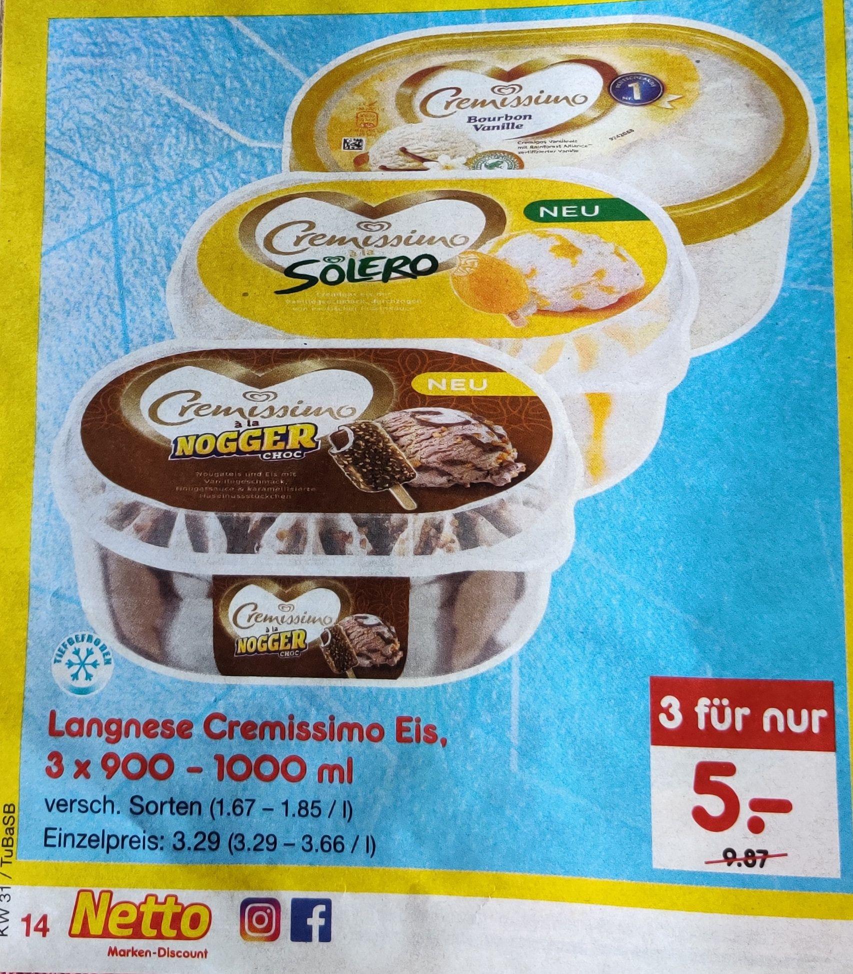 Langnese Cremissimo Eis - eff. 1,66/Packung (versch. Sorten) Netto MD