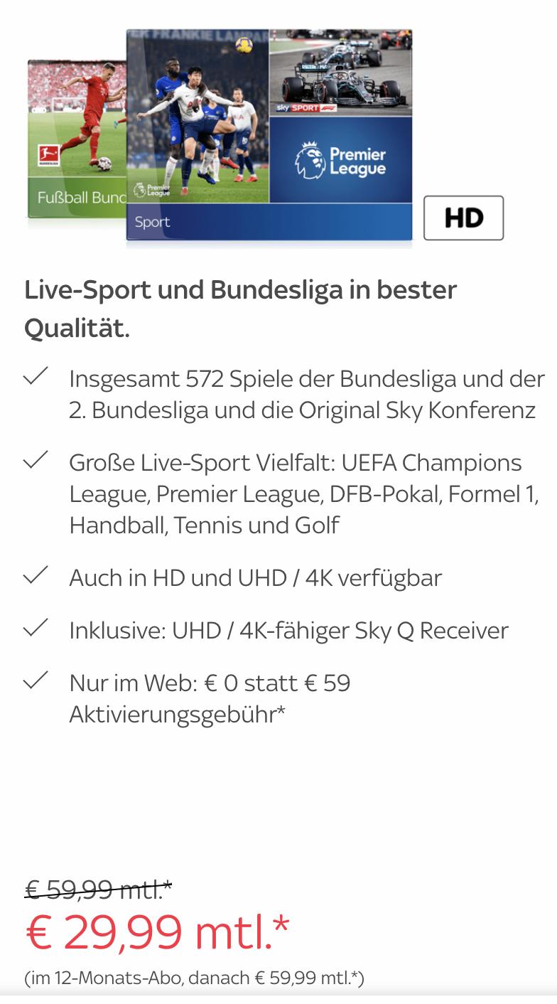 Sky Sport & Bundesliga mit HD/4K für 29,99/Monat - Mindestlaufzeit 12 Monate