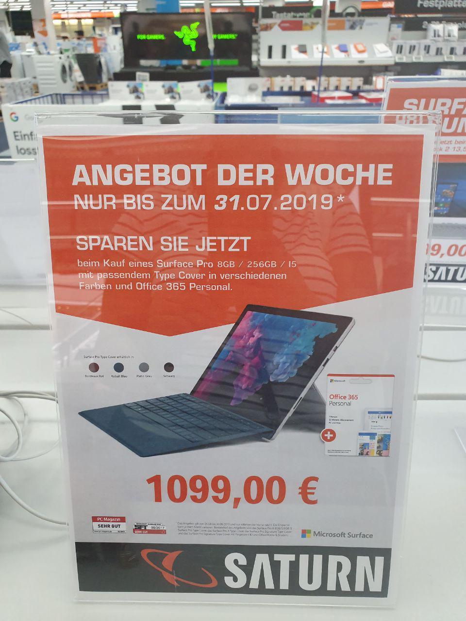 [LOKAL SB] Microsoft Surface Pro 6 (i5, 8 GB, 256 SSD) + Type Cover + 1 Jahr Office für 1099 Euro