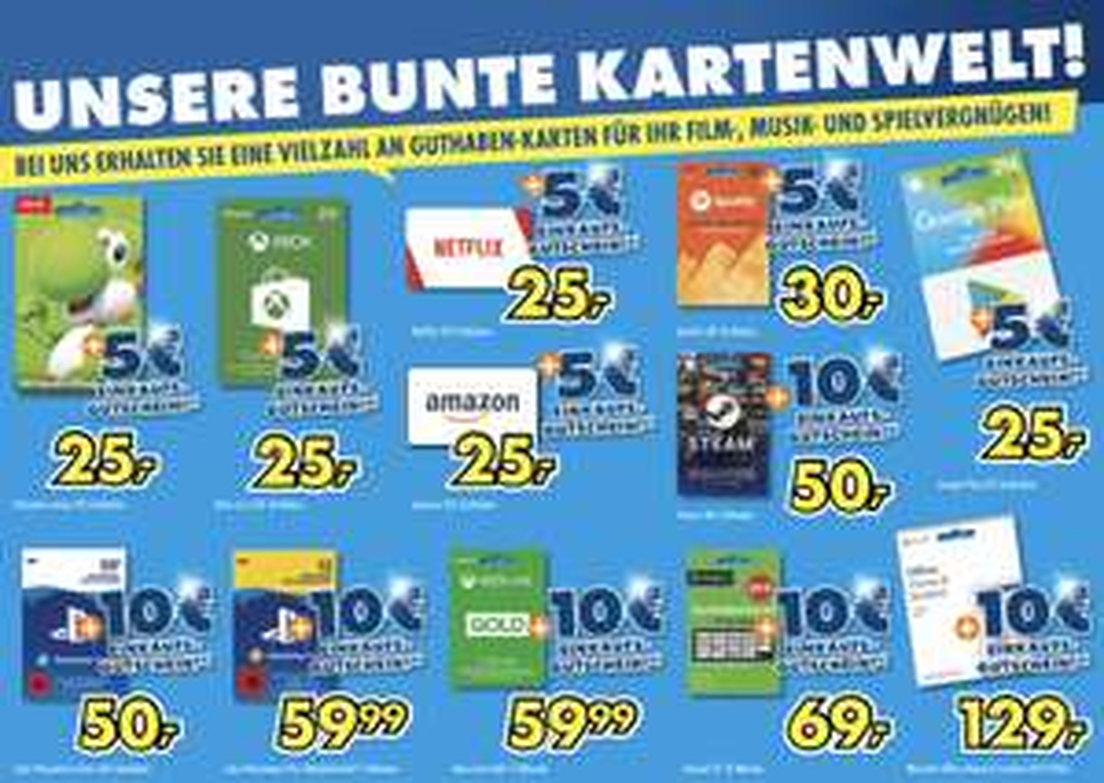 Lokal Euronics Mega-Company: Guthabenkarten für Amazon, Netflix, Spotify, Nintendo usw. + 5€ o. 10€ Einkaufsgutschein geschenkt