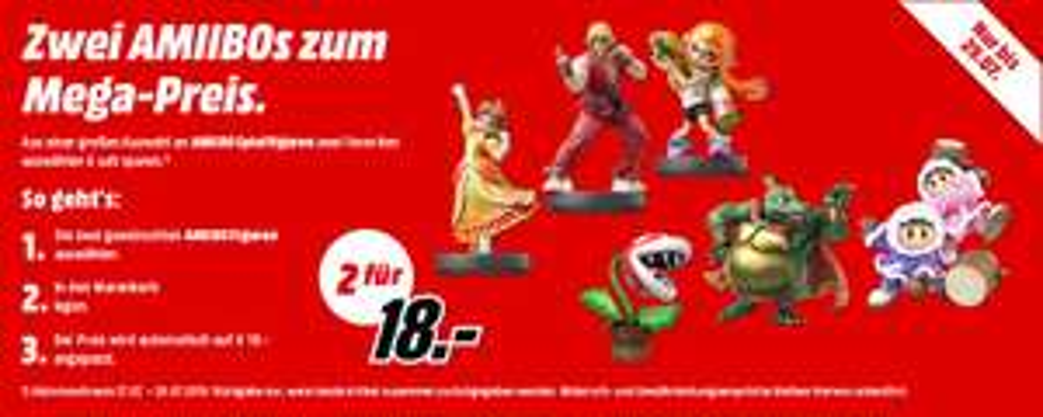 Amiibo Aktion - 2 Stück für 18 € (ausgewählte Figuren) - Media Markt