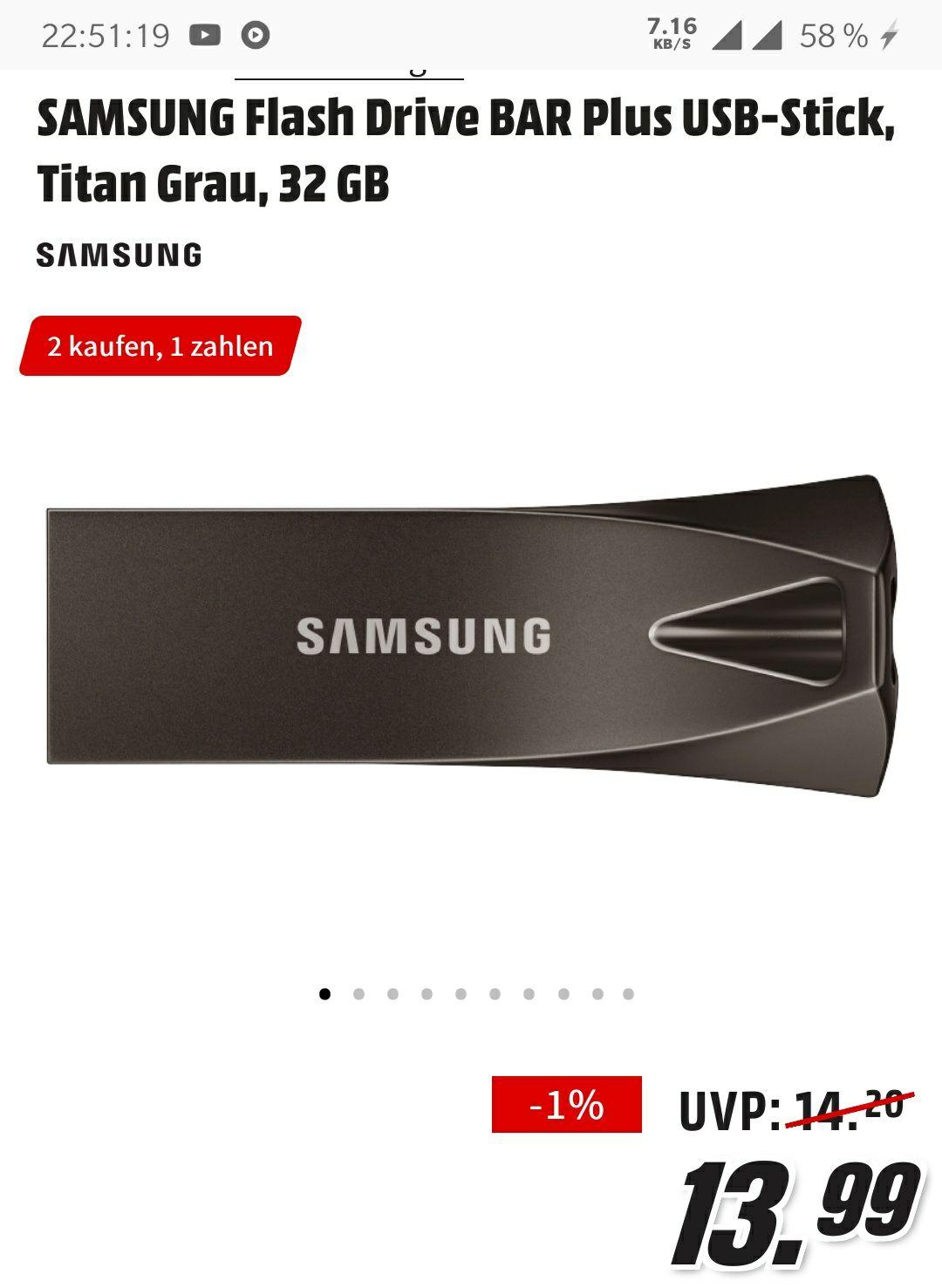 2x SAMSUNG Flash Drive BAR Plus USB-Stick, Titan Grau, 32 GB