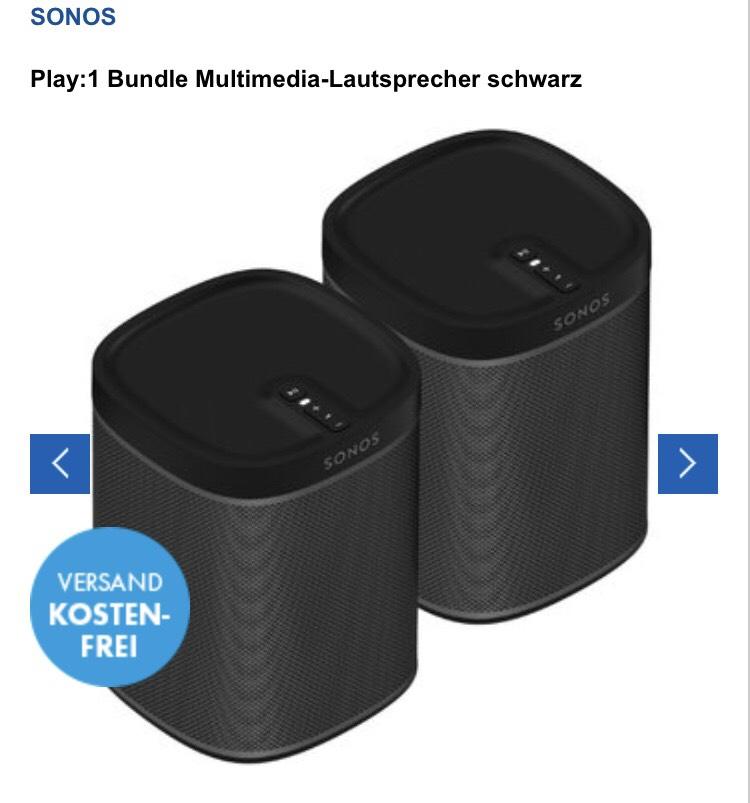 Sonos Play 1 Bundle Multimedia-Lautsprecher schwarz/weiß