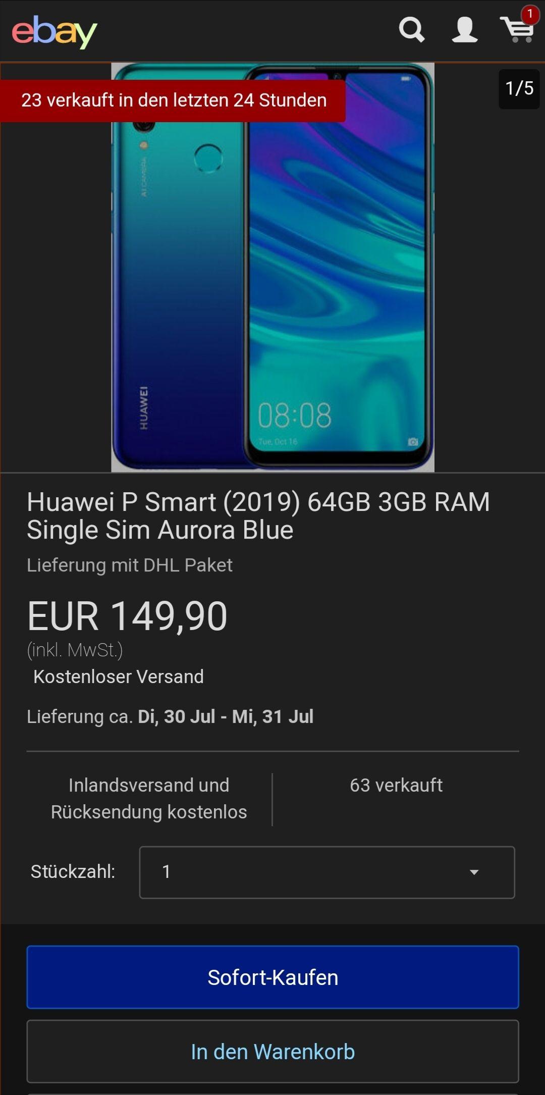 Huawei P Smart (2019) 64GB 3GB RAM Single Sim Aurora Blue 149€ NEUWARE