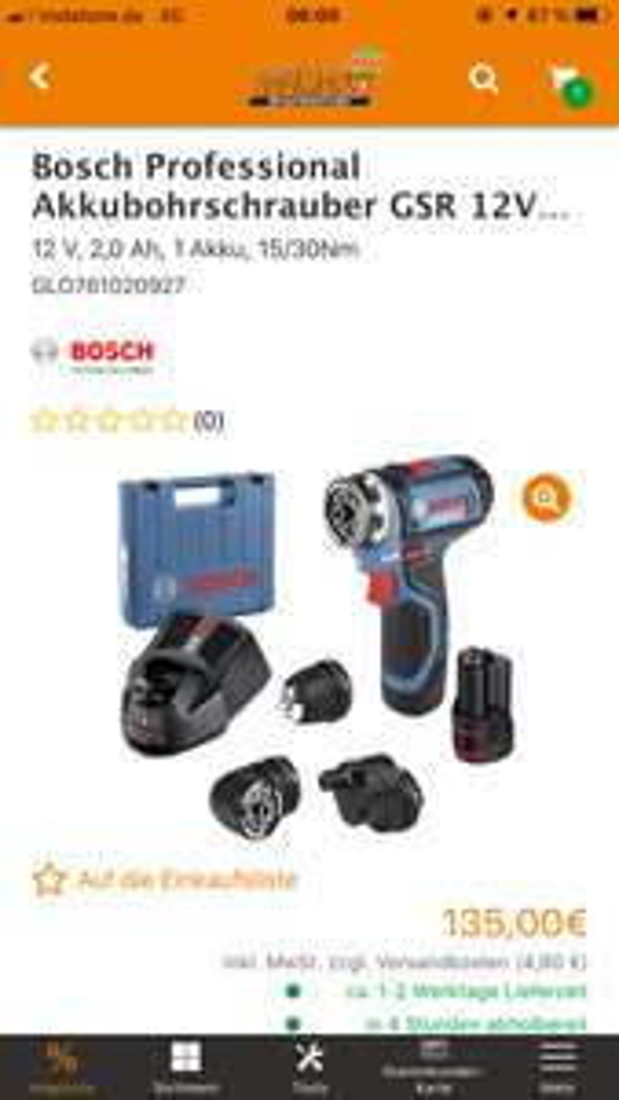 """Bosch GSR 12V-15FC """"Globus 20% Aktion LOKAL WEINHEIM"""""""