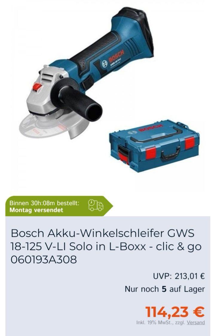 Bosch Akku Winkelschleifer 18V GWS 18-125 solo in L-Boxx 060193A308 (zusätzlich - 10€ bei Newsletter Anmeldung)
