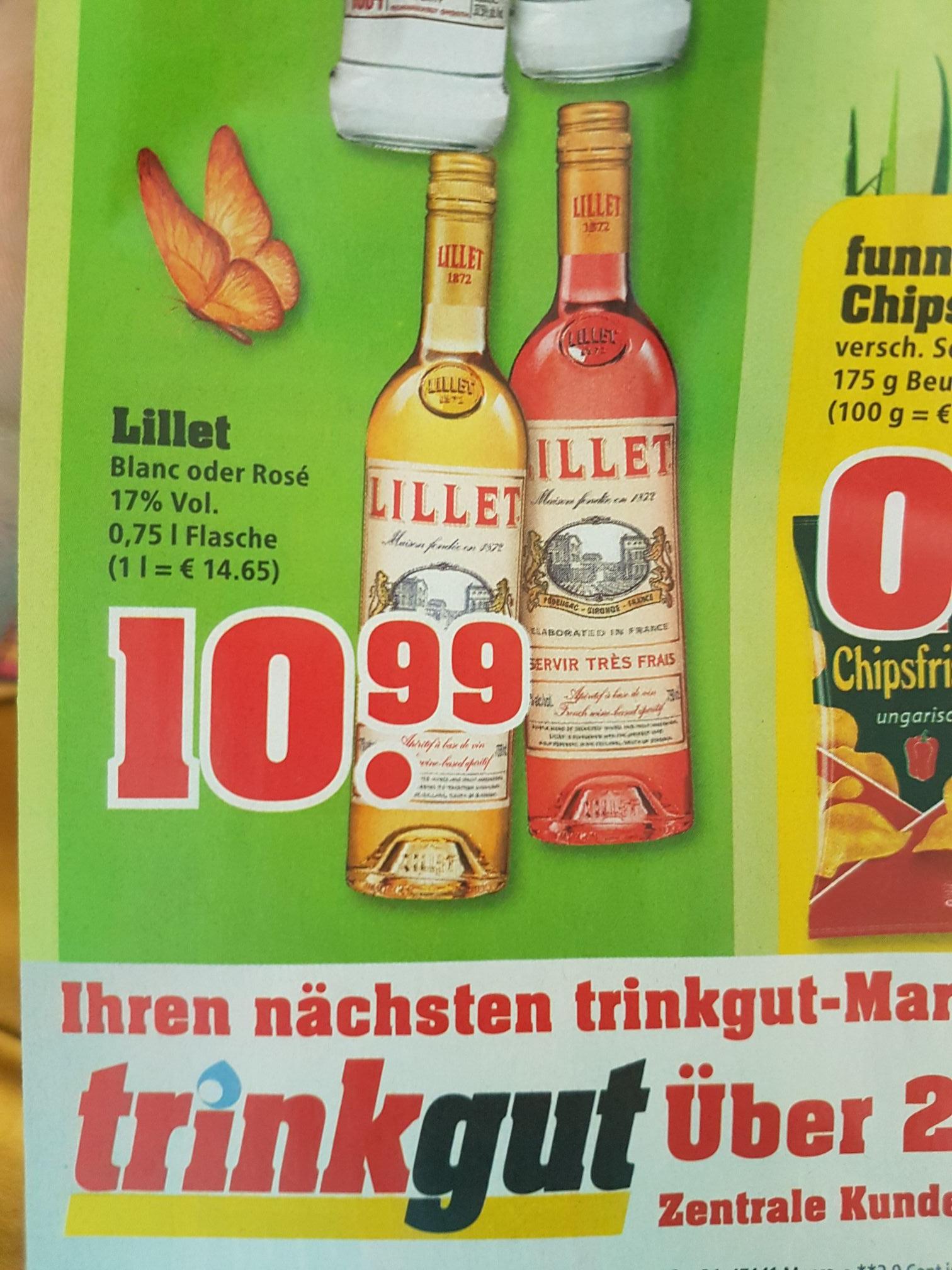 Lillet Blanc oder Rosé 0,75 L Flasche für 10,99€ bei Trinkgut