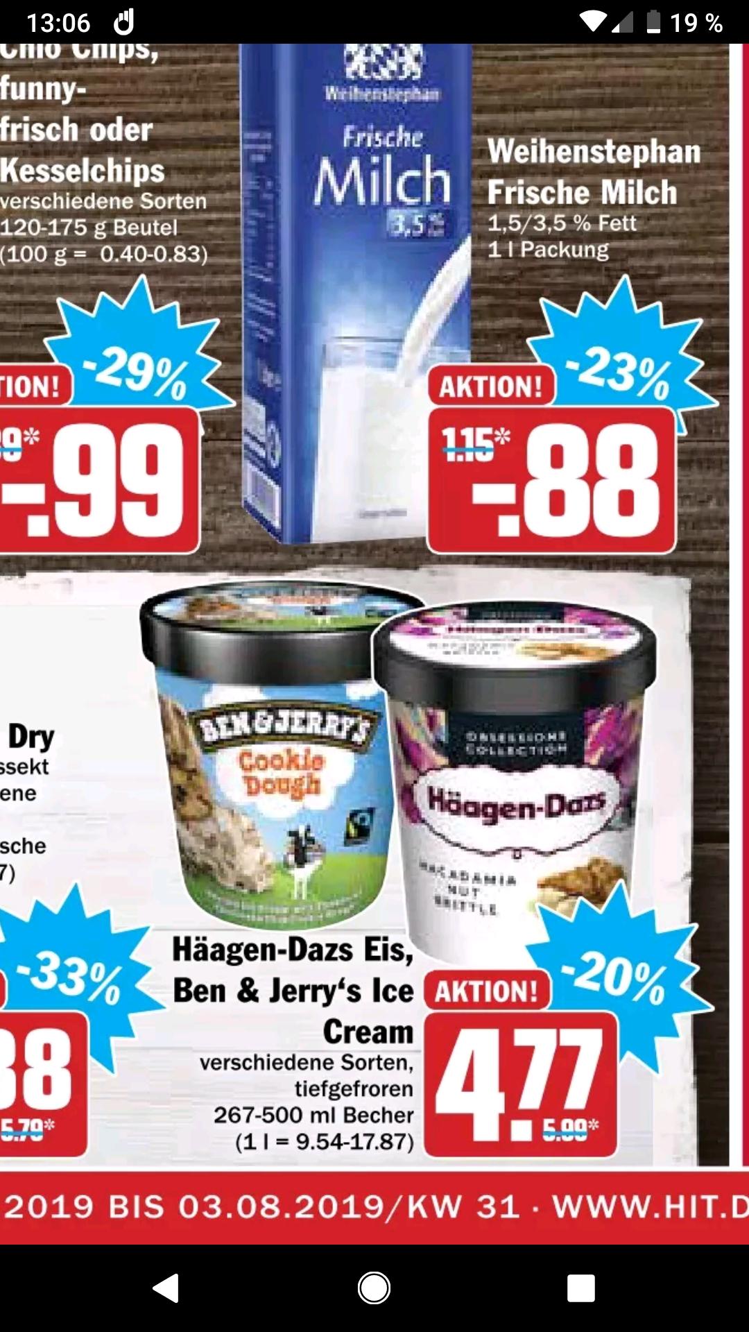 Ben & Jerry's sowie Häagen-Dazs bei Hit für 4,77€